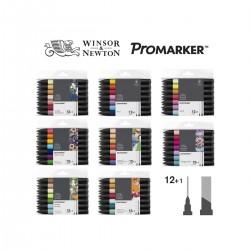 Set 12+1 Promarker Winsor&Newton doble punta - Casa Piera