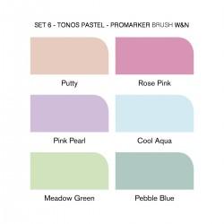 Set 6 Tonos pastel Brush Promarker doble punta - Casa Piera