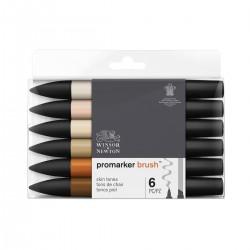 Set 6 Tonos piel Brush Promarker doble punta - Casa Piera